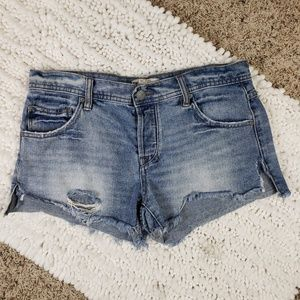 Free People Hi-Rise Button Fly Distressed Shorts